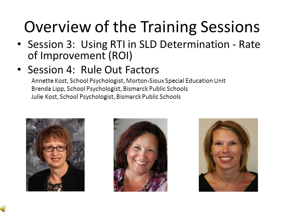Overview of the Training Sessions Session 3: Using RTI in SLD Determination - Rate of Improvement (ROI) Session 4: Rule Out Factors Annette Kost, Scho