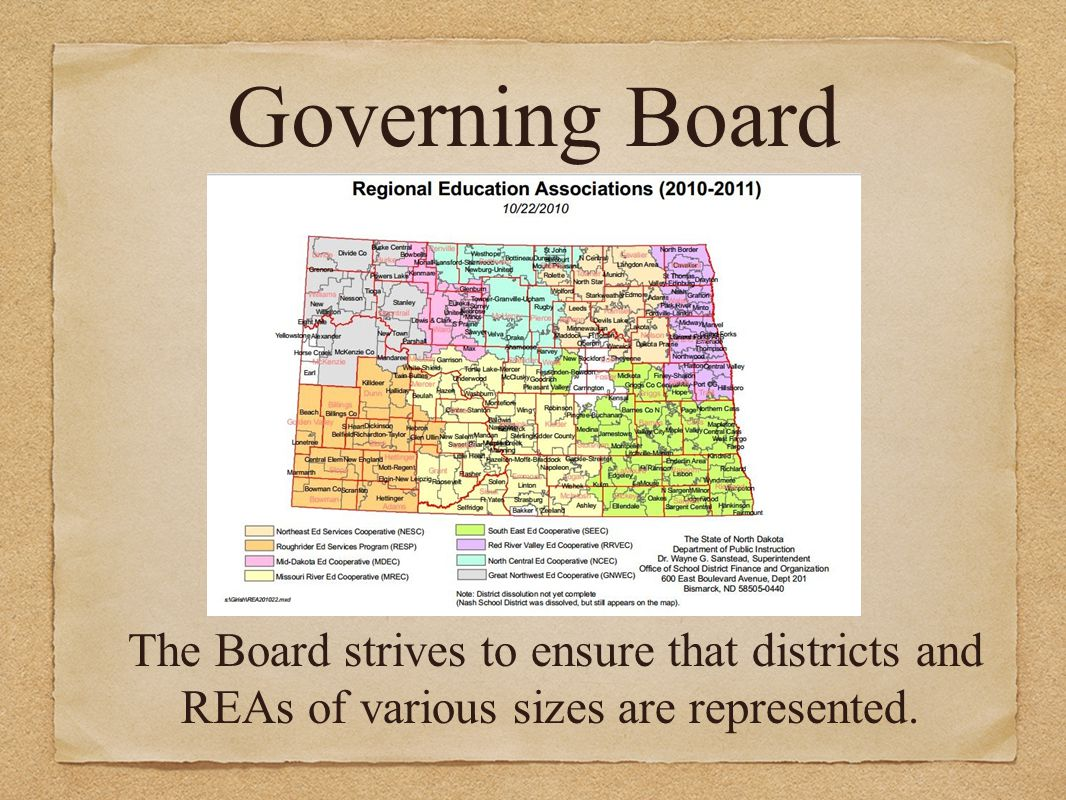 The Board strives to ensure that districts and REAs of various sizes are represented. Governing Board