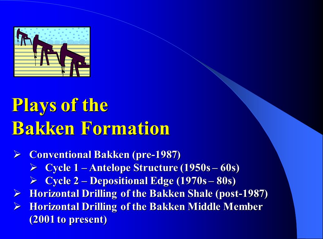 Conventional Bakken Cycle 1 – Antelope Field  Discovery Well  Stanolind - #1 Woodrow Starr  Initial Potential (536 BO; 0.1 BW)  Antelope Field  52 wells; 12.5 million BO; 10 BCF Gas  Sanish Sand  Completion Method