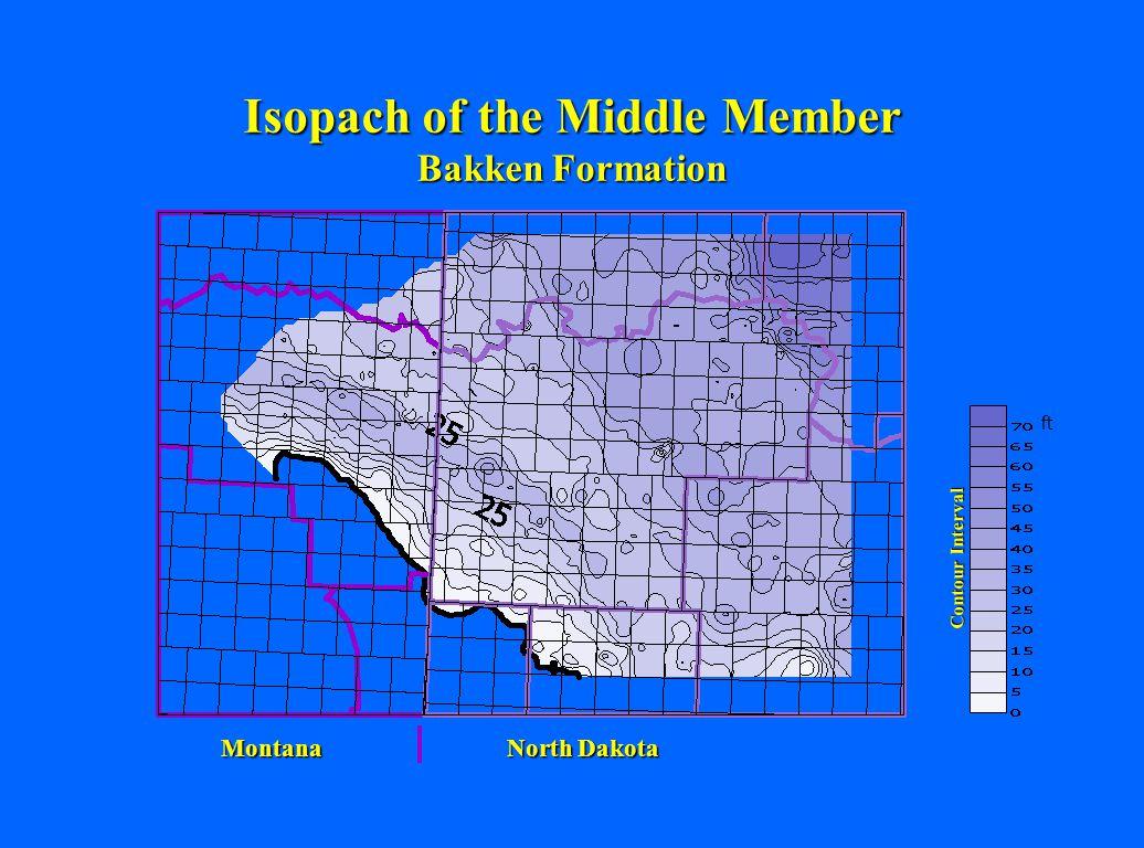 North Dakota Montana Isopach of the Middle Member Bakken Formation Contour Interval ft