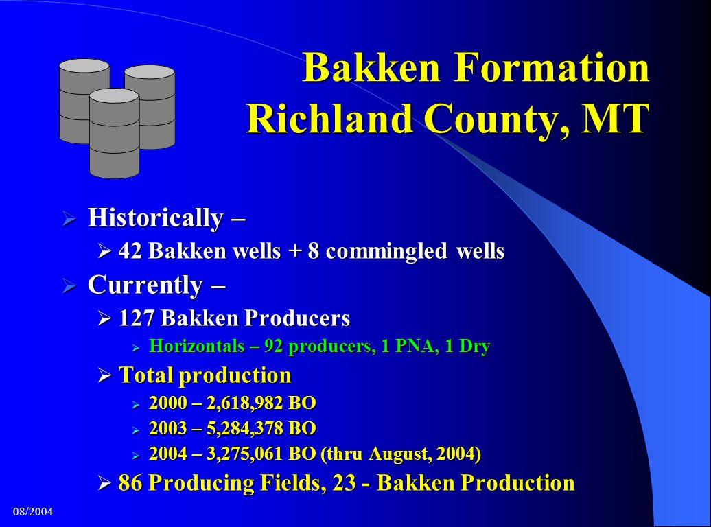 Bakken Formation Richland County, MT  Historically –  42 Bakken wells + 8 commingled wells  Currently –  127 Bakken Producers  Horizontals – 92 p