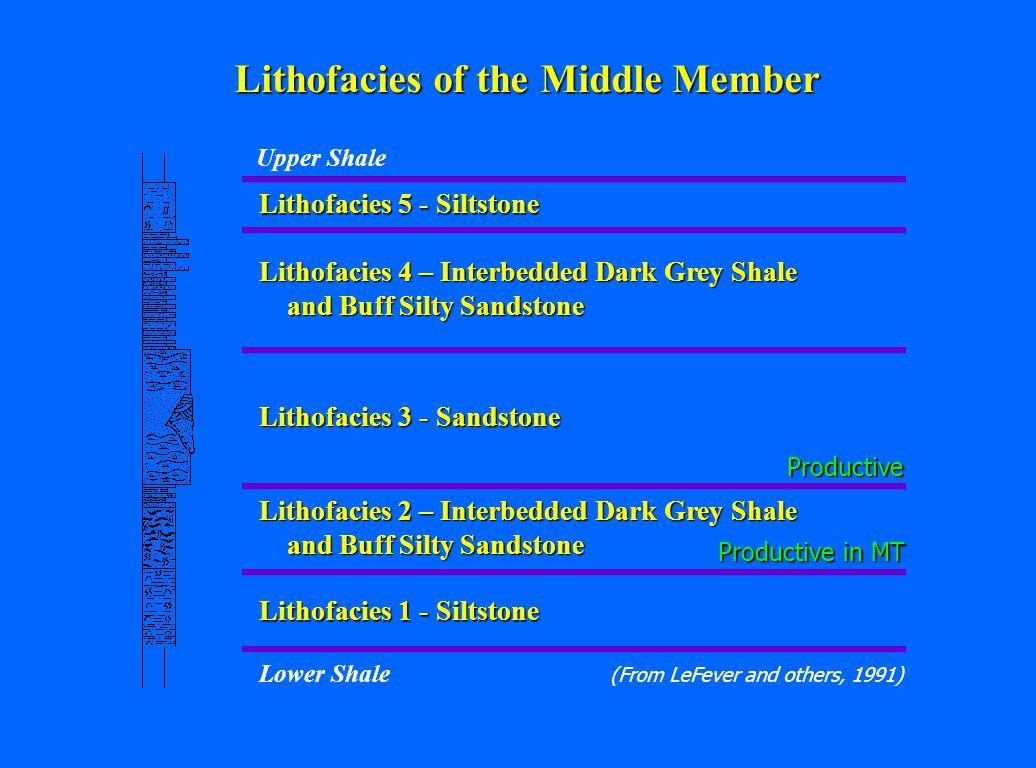 Lithofacies 5 - Siltstone Lithofacies 4 – Interbedded Dark Grey Shale and Buff Silty Sandstone Lithofacies 3 - Sandstone Lithofacies 2 – Interbedded D