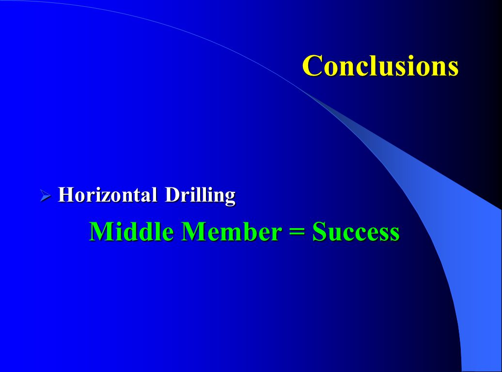 Conclusions  Horizontal Drilling Middle Member = Success