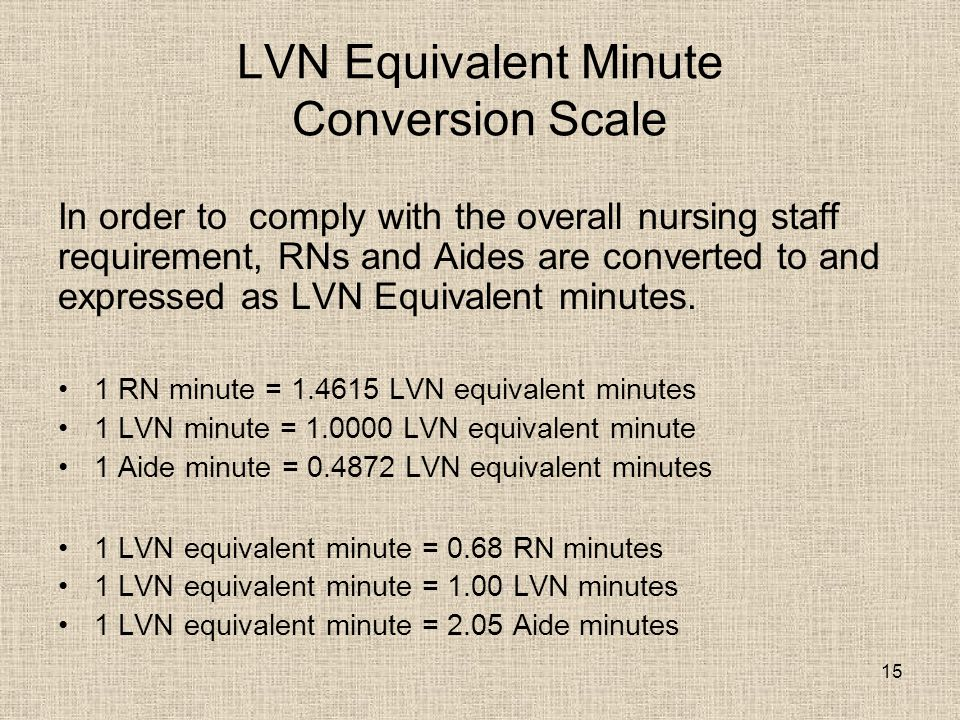 15 LVN Equivalent Minute Conversion Scale In order to comply with the overall nursing staff requirement, RNs and Aides are converted to and expressed as LVN Equivalent minutes.
