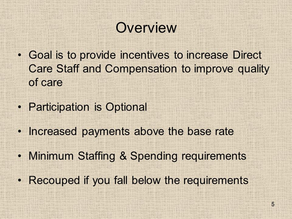 5 Overview Goal is to provide incentives to increase Direct Care Staff and Compensation to improve quality of care Participation is Optional Increased payments above the base rate Minimum Staffing & Spending requirements Recouped if you fall below the requirements