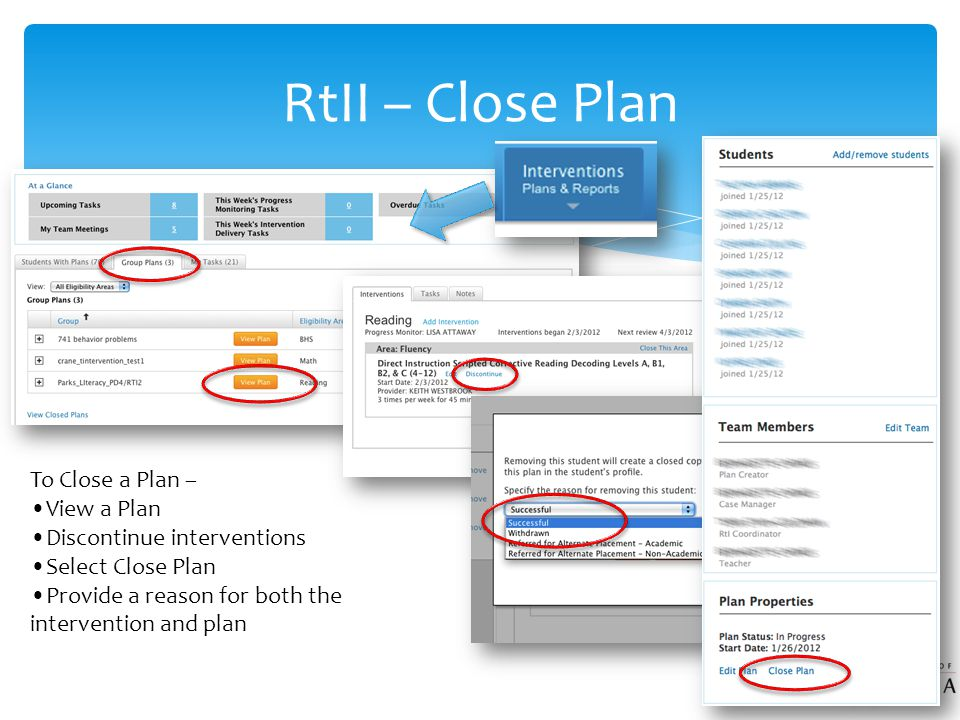 RtII – Close Plan To Close a Plan – View a Plan Discontinue interventions Select Close Plan Provide a reason for both the intervention and plan