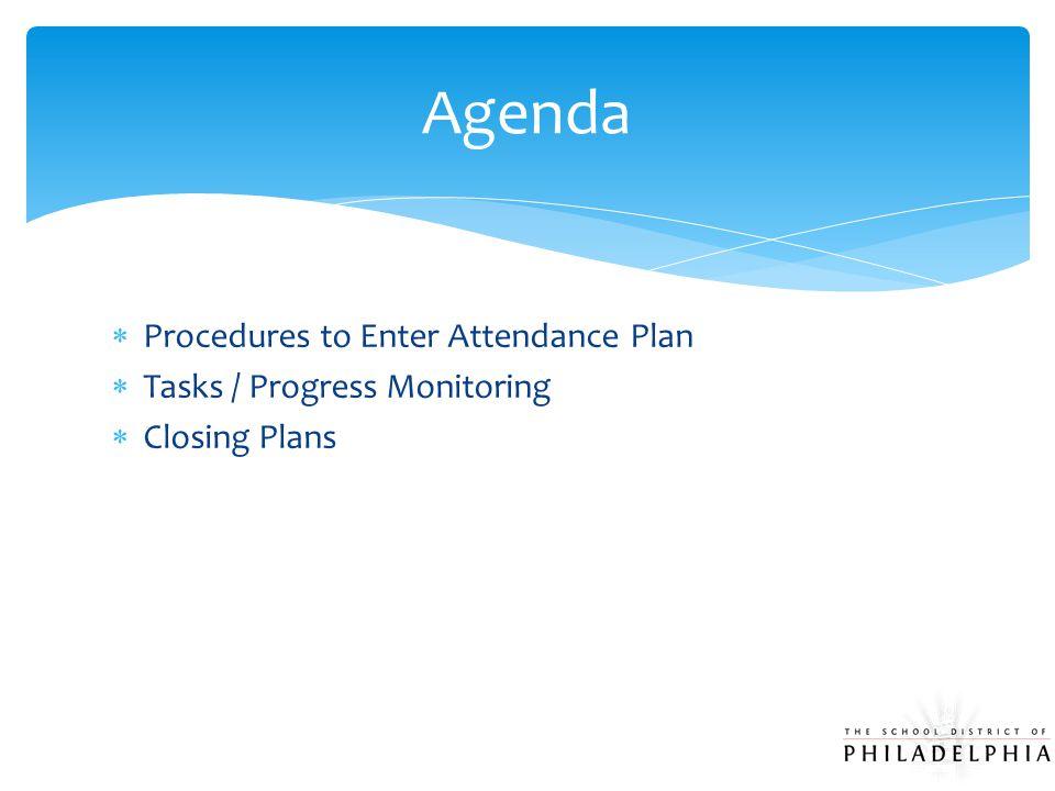  Procedures to Enter Attendance Plan  Tasks / Progress Monitoring  Closing Plans Agenda