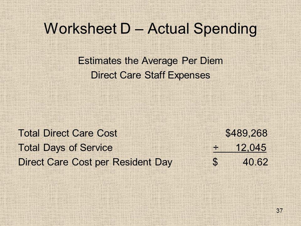 37 Worksheet D – Actual Spending Estimates the Average Per Diem Direct Care Staff Expenses Total Direct Care Cost $489,268 Total Days of Service ÷ 12,045 Direct Care Cost per Resident Day $ 40.62