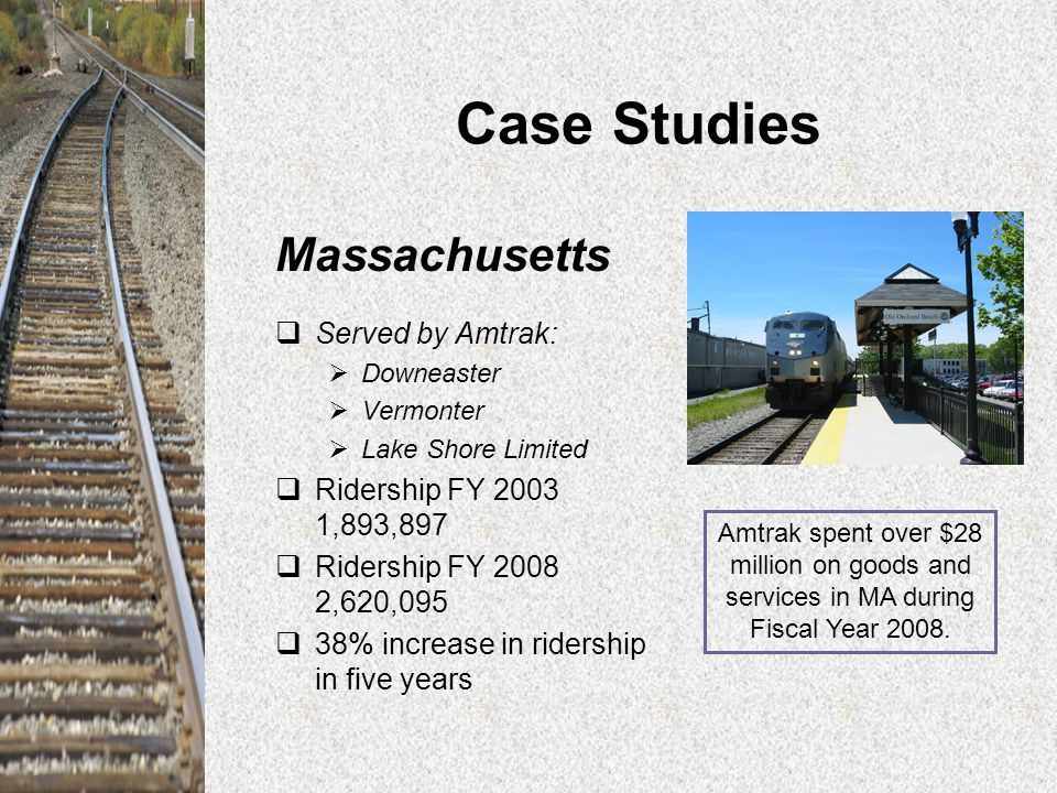 Case Studies Massachusetts  Served by Amtrak:  Downeaster  Vermonter  Lake Shore Limited  Ridership FY 2003 1,893,897  Ridership FY 2008 2,620,095  38% increase in ridership in five years Amtrak spent over $28 million on goods and services in MA during Fiscal Year 2008.