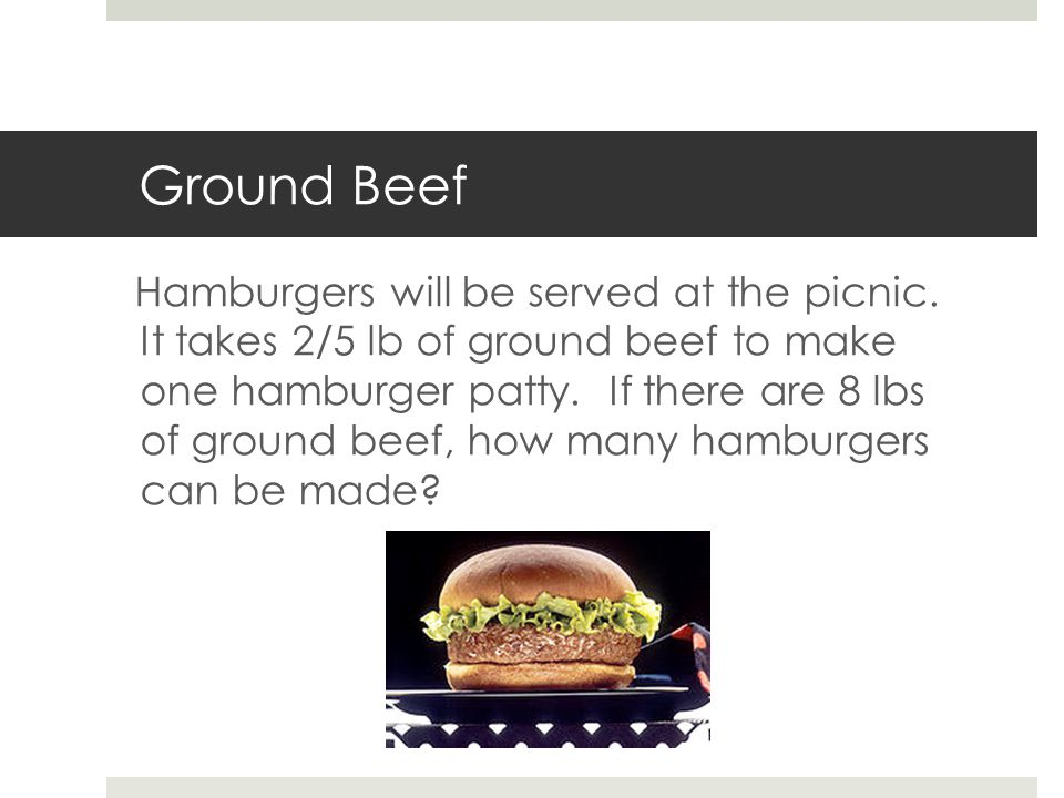 Ground Beef Hamburgers will be served at the picnic.
