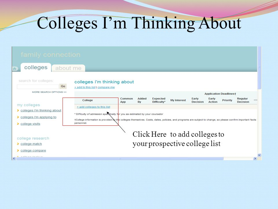 Colleges I'm Thinking About Click Here to add colleges to your prospective college list