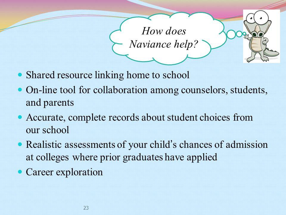 23 Shared resource linking home to school On-line tool for collaboration among counselors, students, and parents Accurate, complete records about student choices from our school Realistic assessments of your child's chances of admission at colleges where prior graduates have applied Career exploration How does Naviance help?