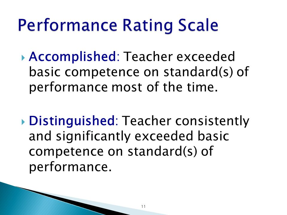  Accomplished: Teacher exceeded basic competence on standard(s) of performance most of the time.