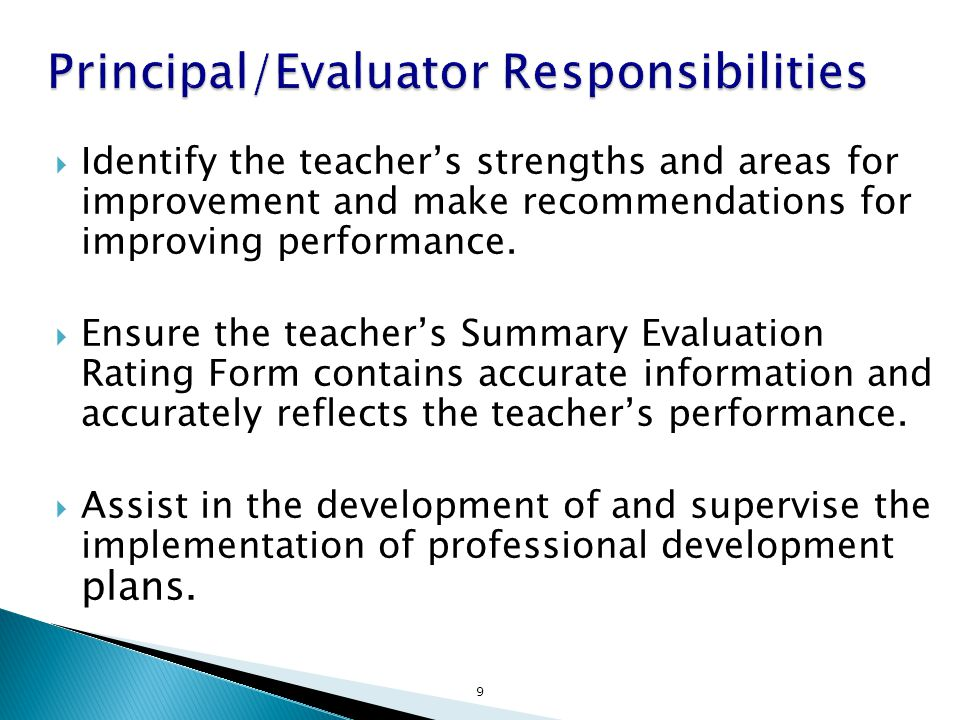  Identify the teacher's strengths and areas for improvement and make recommendations for improving performance.
