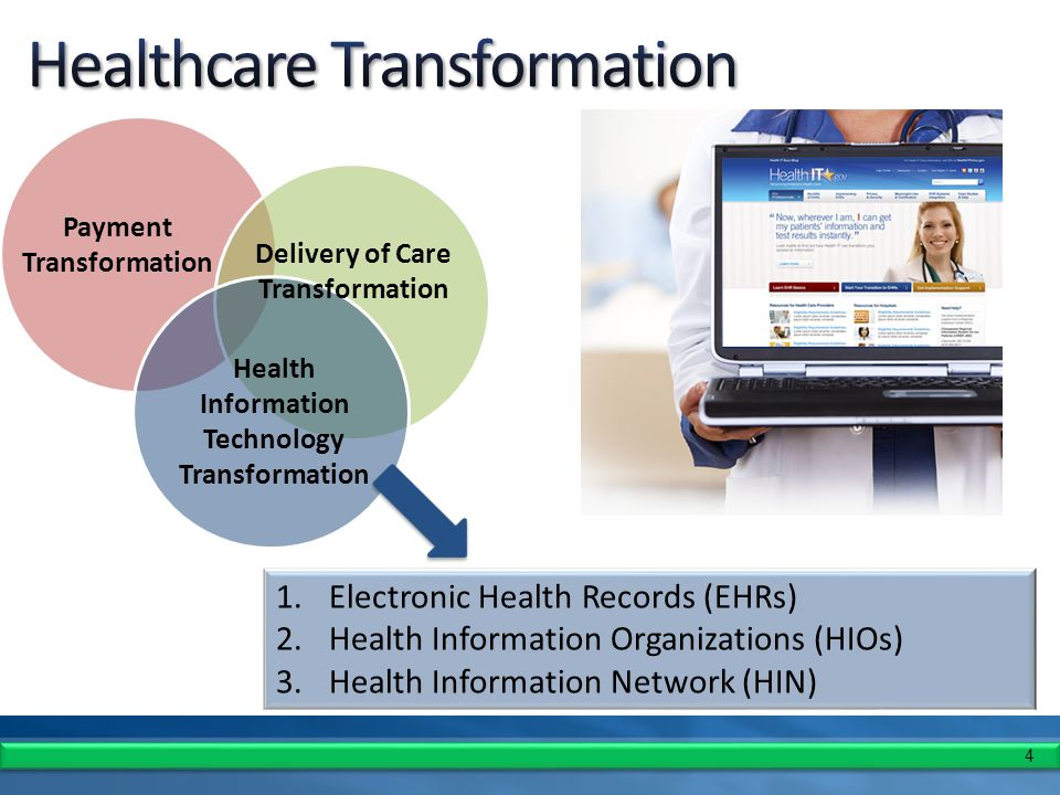 4 1.Electronic Health Records (EHRs) 2.Health Information Organizations (HIOs) 3.Health Information Network (HIN) Payment Transformation Delivery of Care Transformation Health Information Technology Transformation