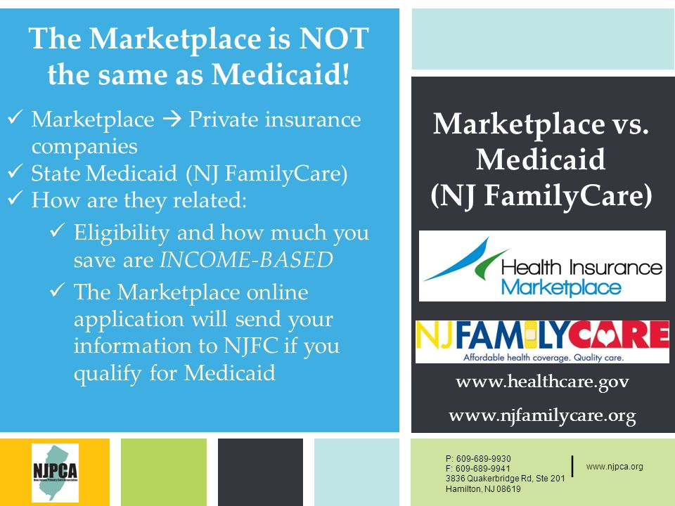 P: F: West Main Street, New York, NY | P: F: Quakerbridge Rd, Ste 201 Hamilton, NJ | The Marketplace is NOT the same as Medicaid.