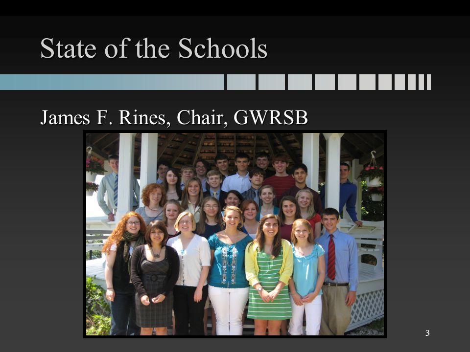 State of the Schools James F. Rines, Chair, GWRSB 3