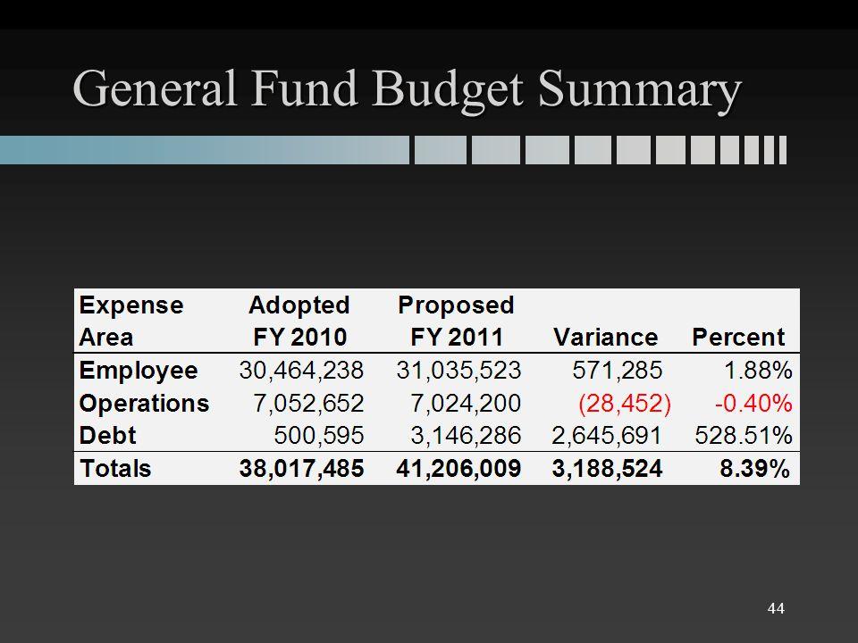 General Fund Budget Summary 44