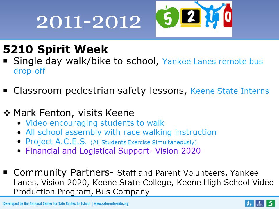 5210 Spirit Week  Single day walk/bike to school, Yankee Lanes remote bus drop-off  Classroom pedestrian safety lessons, Keene State Interns  Mark Fenton, visits Keene Video encouraging students to walk All school assembly with race walking instruction Project A.C.E.S.