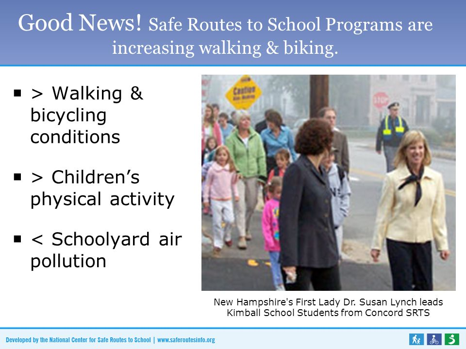 Good News! Safe Routes to School Programs are increasing walking & biking.  > Walking & bicycling conditions  > Children's physical activity  < Sch