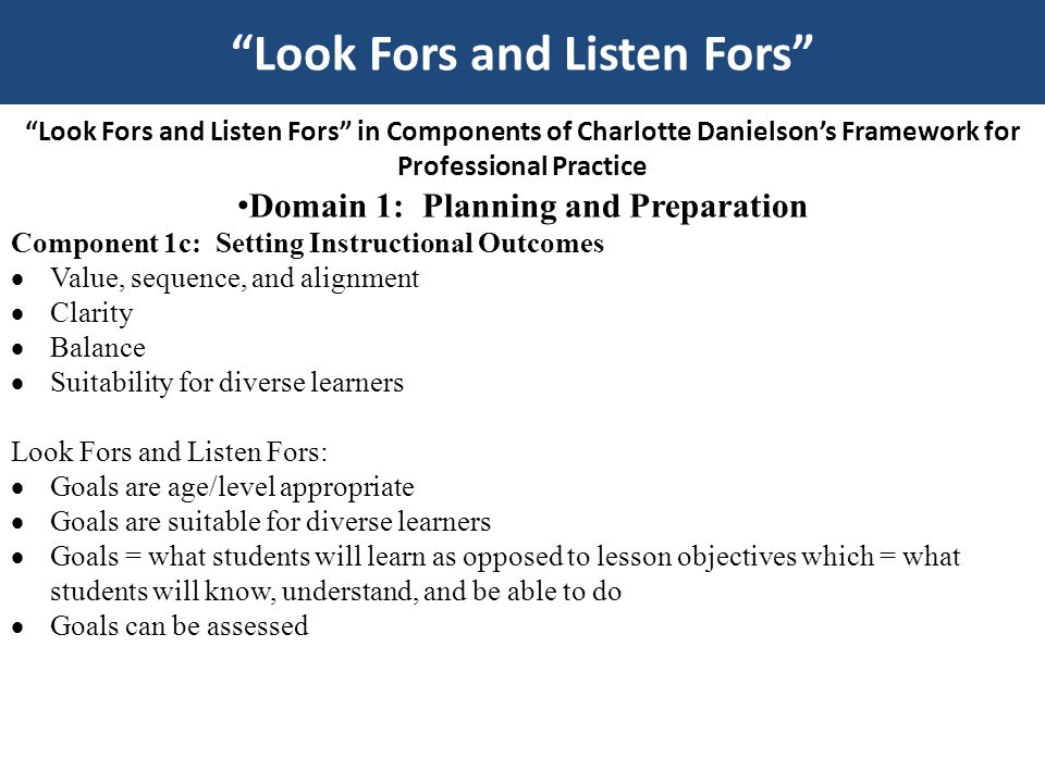 Look Fors and Listen Fors in Components of Charlotte Danielson's Framework for Professional Practice Domain 1: Planning and Preparation Component 1d: Demonstrating Knowledge of Resources  Resources for classroom use  Resources to extend content knowledge and pedagogy  Resources for students Look Fors and Listen Fors:  Resources to assist teaching and/or help students, i.e.