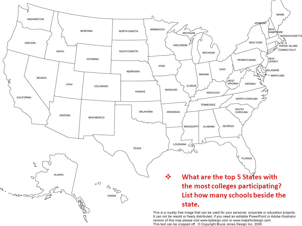  What are the top 5 States with the most colleges participating.