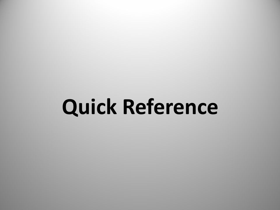 Quick Reference