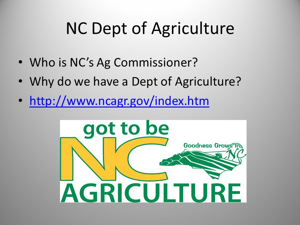 NC Dept of Agriculture Who is NC's Ag Commissioner.