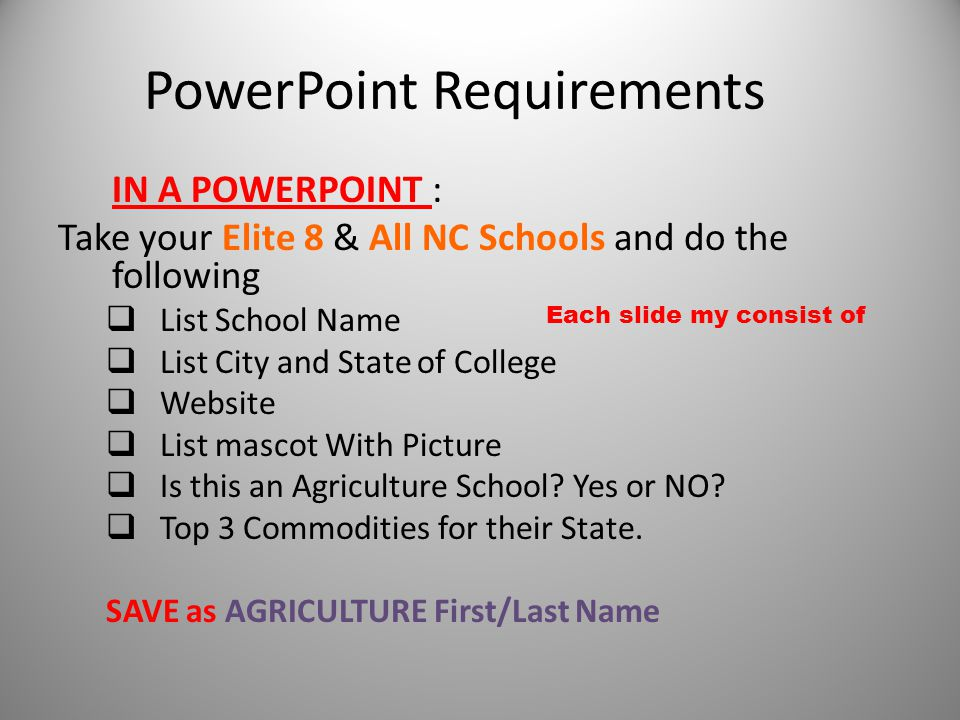 PowerPoint Requirements IN A POWERPOINT : Take your Elite 8 & All NC Schools and do the following  List School Name  List City and State of College  Website  List mascot With Picture  Is this an Agriculture School.