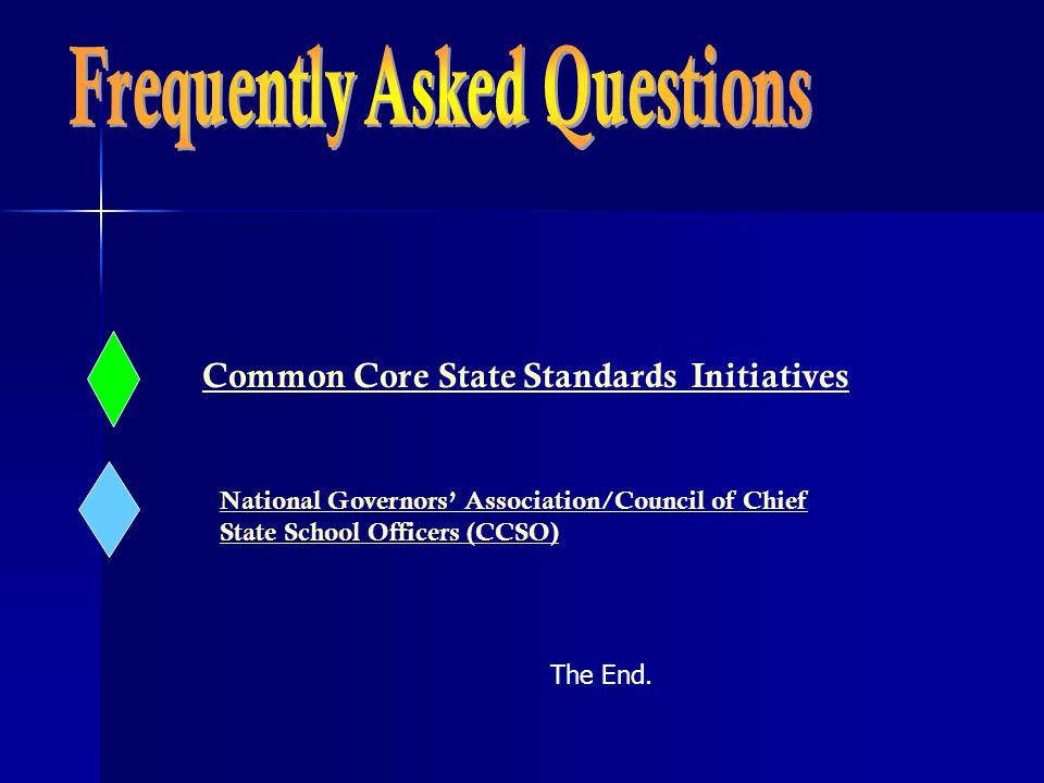 Common Core State Standards Initiatives National Governors' Association/Council of Chief State School Officers (CCSO) The End.