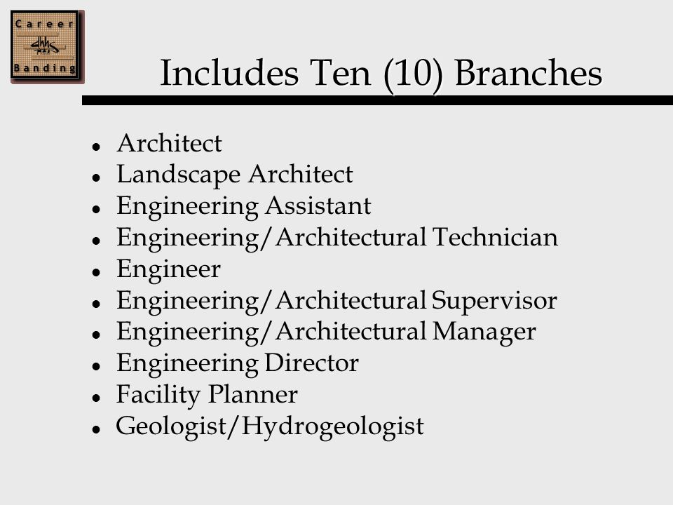 Includes Ten (10) Branches Architect Landscape Architect Engineering Assistant Engineering/Architectural Technician Engineer Engineering/Architectural Supervisor Engineering/Architectural Manager Engineering Director Facility Planner Geologist/Hydrogeologist