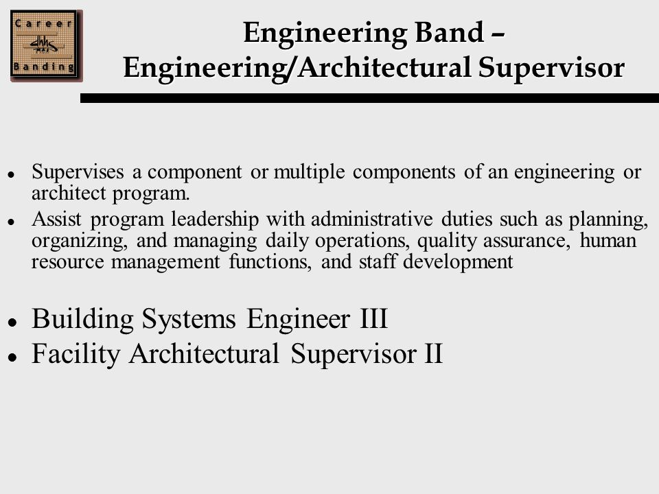 Engineering Band – Engineering/Architectural Supervisor Supervises a component or multiple components of an engineering or architect program.