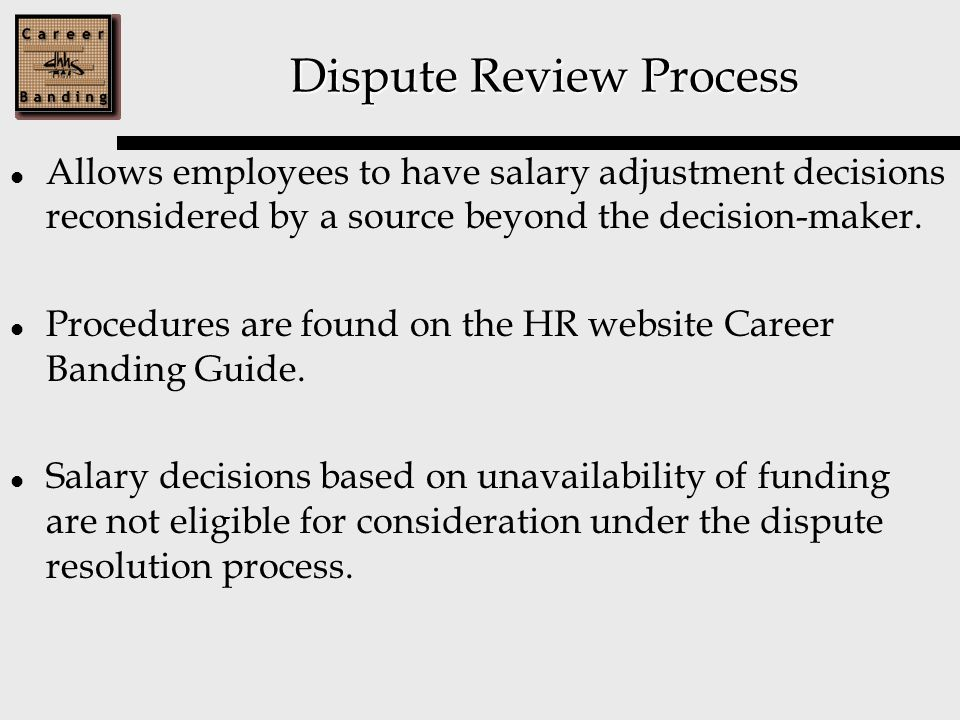 Dispute Review Process Allows employees to have salary adjustment decisions reconsidered by a source beyond the decision-maker.