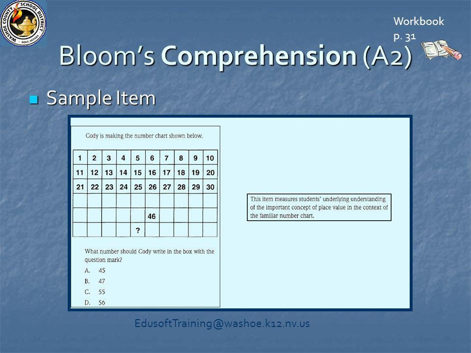Bloom's Comprehension (A2) Sample Item Sample Item Workbook p. 31 EdusoftTraining@washoe.k12.nv.us
