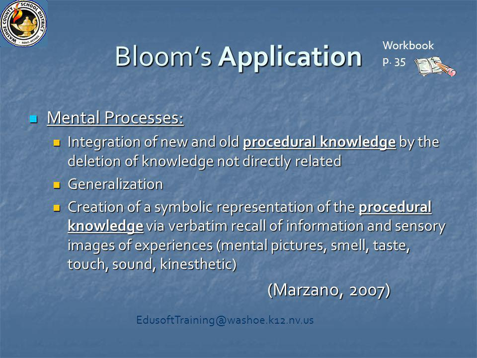 Bloom's Application Mental Processes: Mental Processes: Integration of new and old procedural knowledge by the deletion of knowledge not directly rela