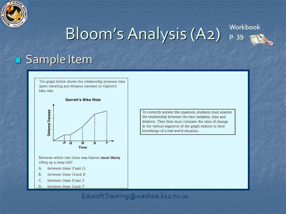 Bloom's Analysis (A2) Sample Item Sample Item Workbook p. 39 EdusoftTraining@washoe.k12.nv.us