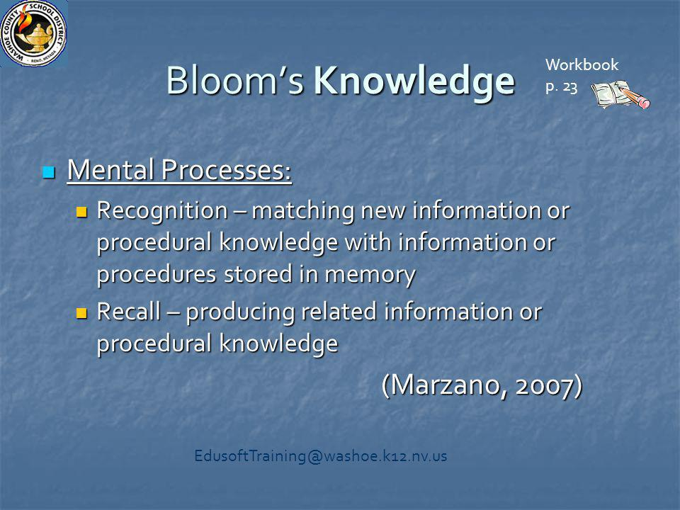 Bloom's Knowledge Mental Processes: Mental Processes: Recognition – matching new information or procedural knowledge with information or procedures st
