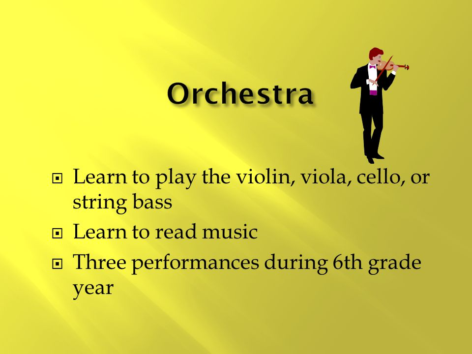  Learn to play the violin, viola, cello, or string bass  Learn to read music  Three performances during 6th grade year