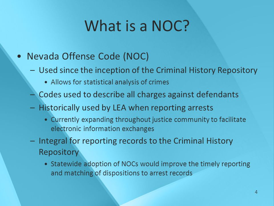 5 NOC Definitions Old/Original NOC –5 digit auto-number –No organization –Many duplicates –Example: 00000 – 20000 Transitional NOC –5 digit number –One-to-one relationship with Intelligent NOC –Allows transition from old NOC to intelligent NOC –Example: 50000 - 59999 Intelligent NOC –Hierarchical approach –Group similar crimes –Plan for table growth and modification –Example: D01029E00NV 14235 52368 D01029E00NV