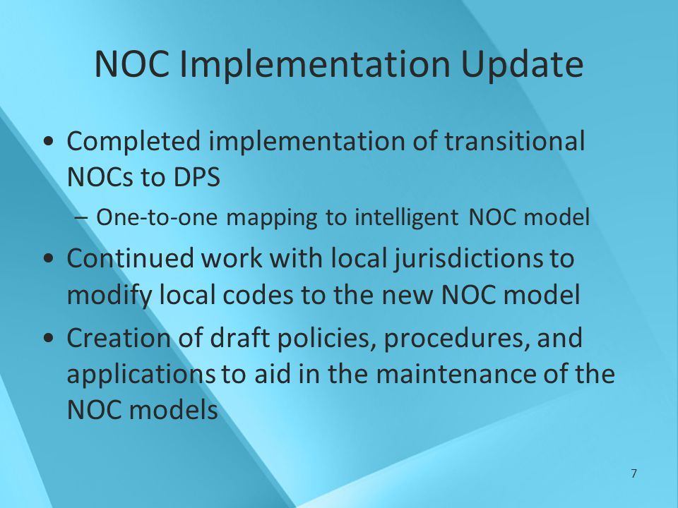 8 Authority 179(A).075 – Creation of Central Repository –NOCs are an integral and critical component of data collected and exchanged with the central repository 179(A).079 – Establishment of NCJIS Advisory Committee 3.