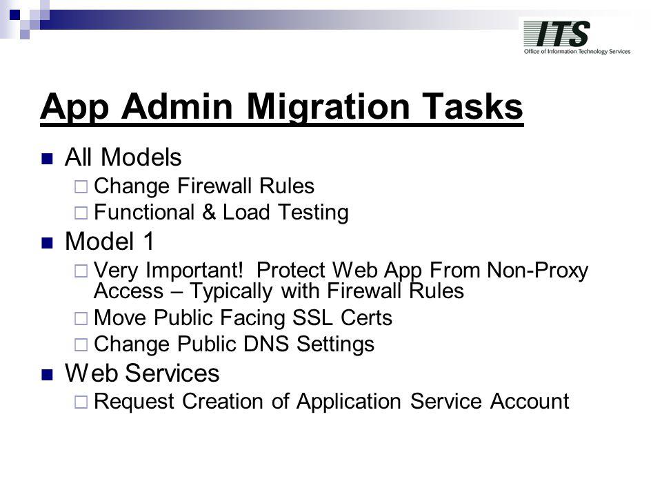 App Admin Migration Tasks All Models  Change Firewall Rules  Functional & Load Testing Model 1  Very Important.