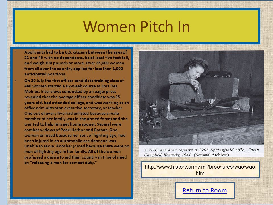 Return to Room Women Pitch In Applicants had to be U.S. citizens between the ages of 21 and 45 with no dependents, be at least five feet tall, and wei