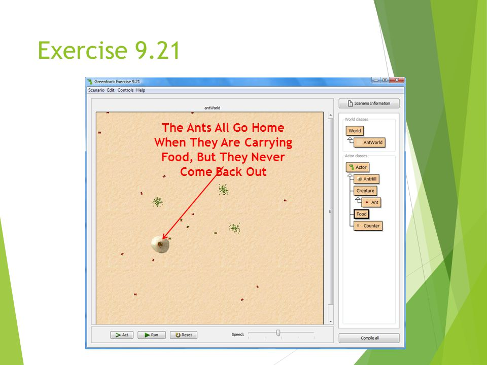 Exercise 9.21 The Ants All Go Home When They Are Carrying Food, But They Never Come Back Out