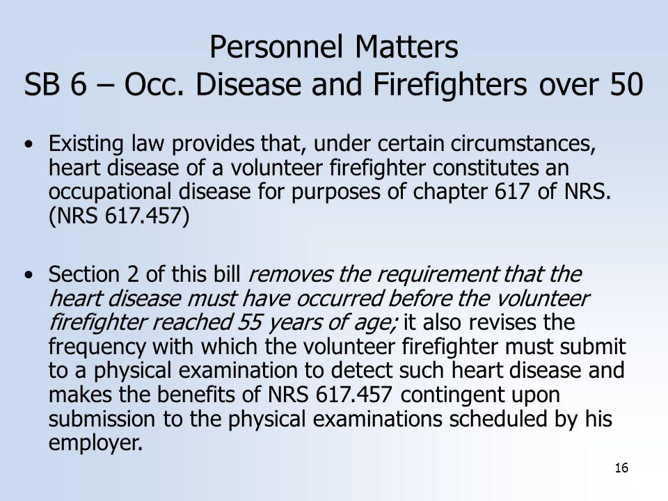 16 Personnel Matters SB 6 – Occ.