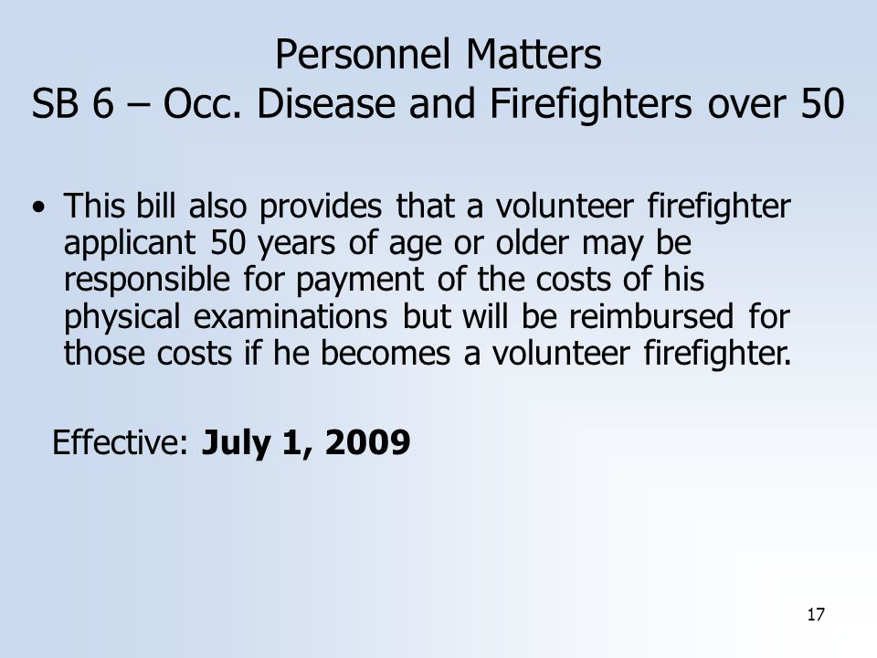 17 Personnel Matters SB 6 – Occ.