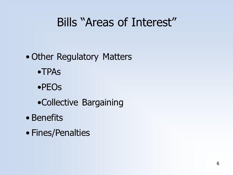 6 Bills Areas of Interest Other Regulatory Matters TPAs PEOs Collective Bargaining Benefits Fines/Penalties