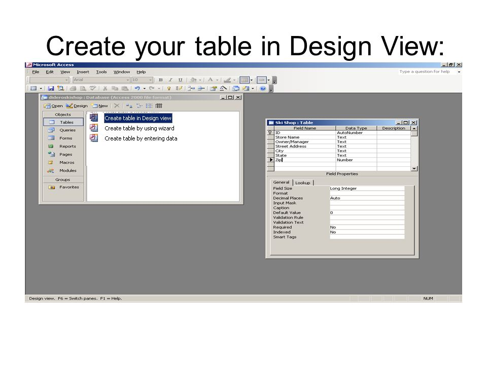 Create your table in Design View: