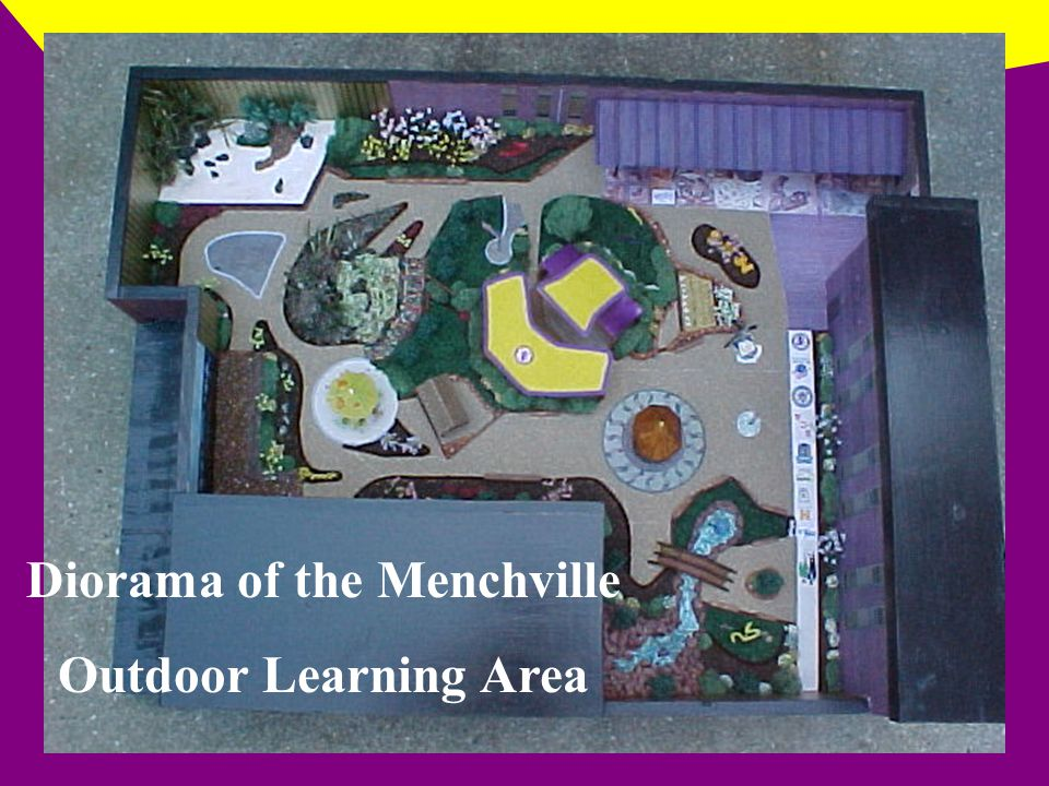 The most tranquil area in the outdoor learning environment is the waterfall and fountain area.