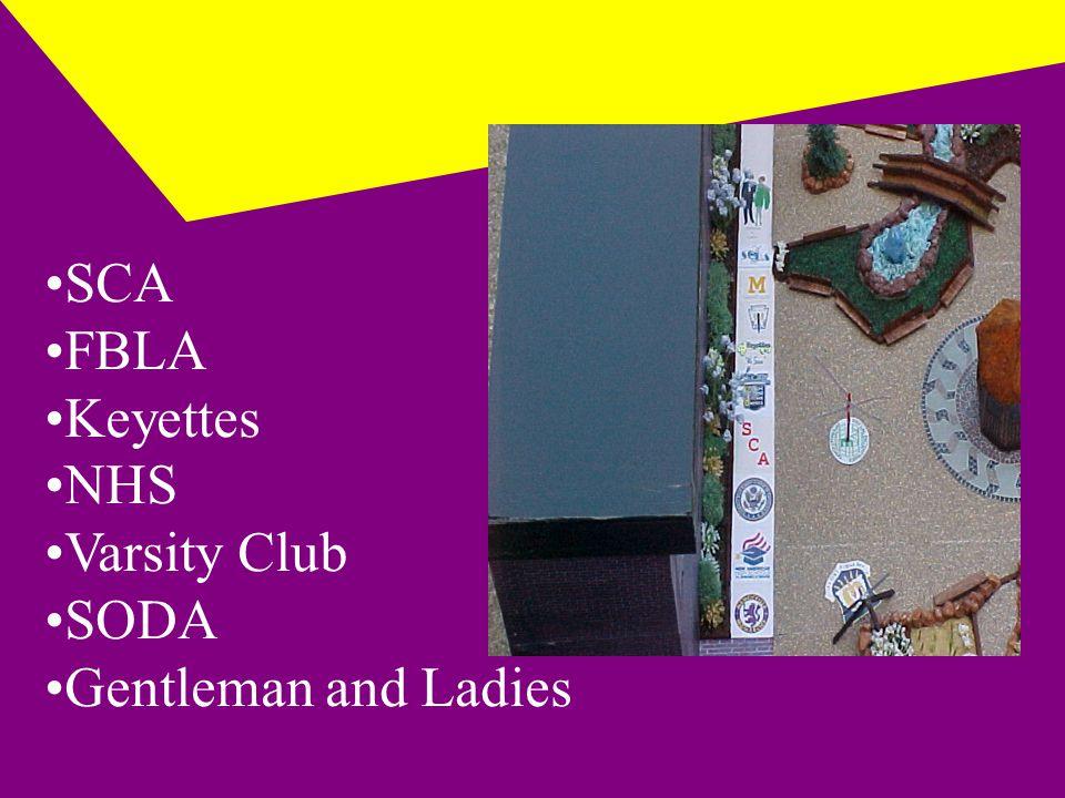 SCA FBLA Keyettes NHS Varsity Club SODA Gentleman and Ladies