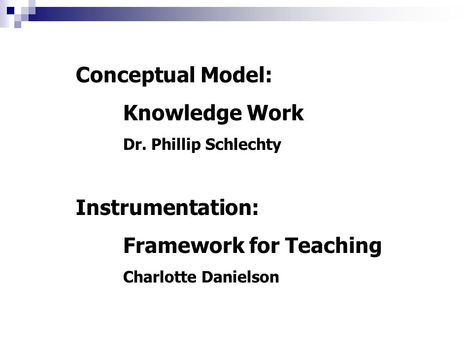 Conceptual Model: Knowledge Work Dr.